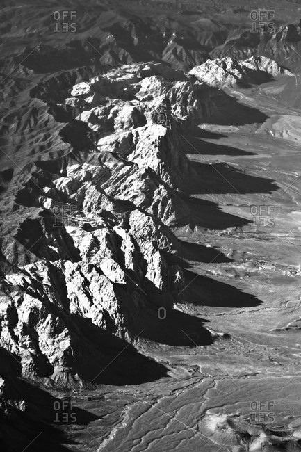 Aerial view of mountains on the approach to Las Vegas, Nevada
