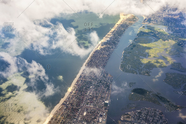 The Rockaways seen on the approach to JFK airport, Queens, New York