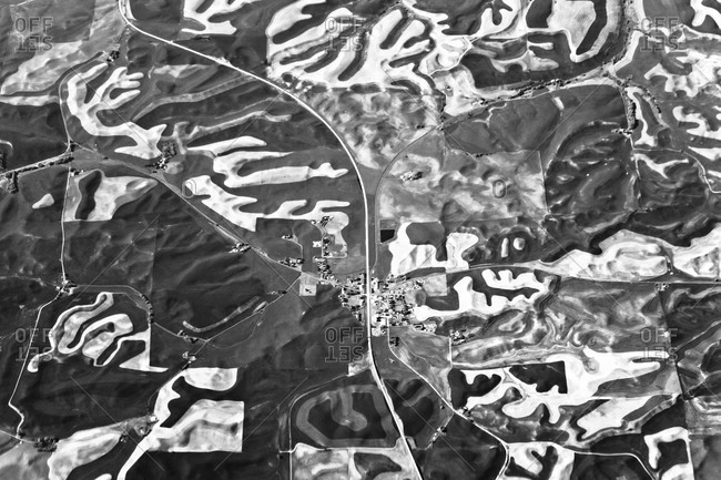Flying over a town in the Palouse region of eastern Washington state