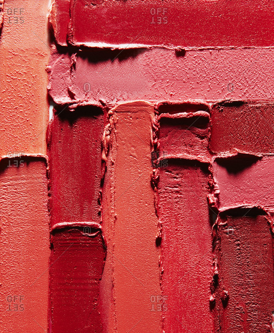 Smears of various red lipsticks