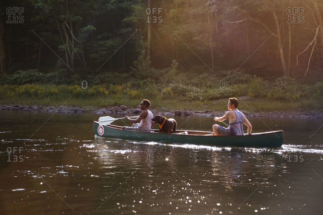 Dog standing in canoe while two men row