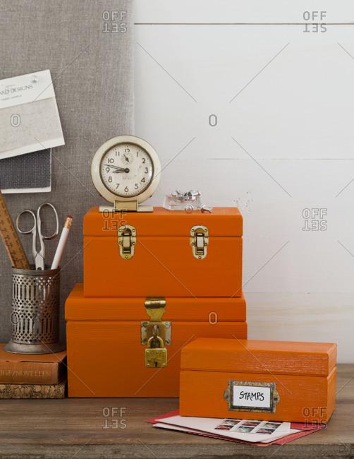 Still life of craft boxes
