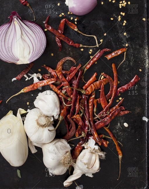 Studio shot of red chilies and vegetables