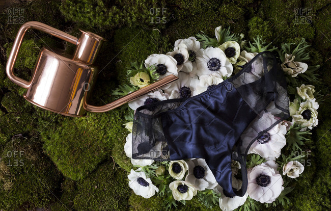 Still life of blue panties and watering can
