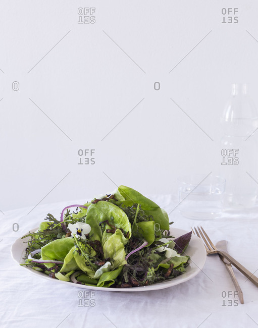 Spring salad served on a table