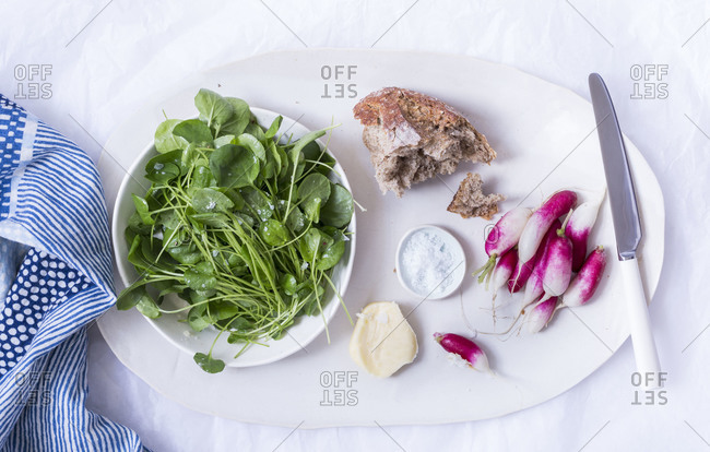 Spring salad served with bread and radish