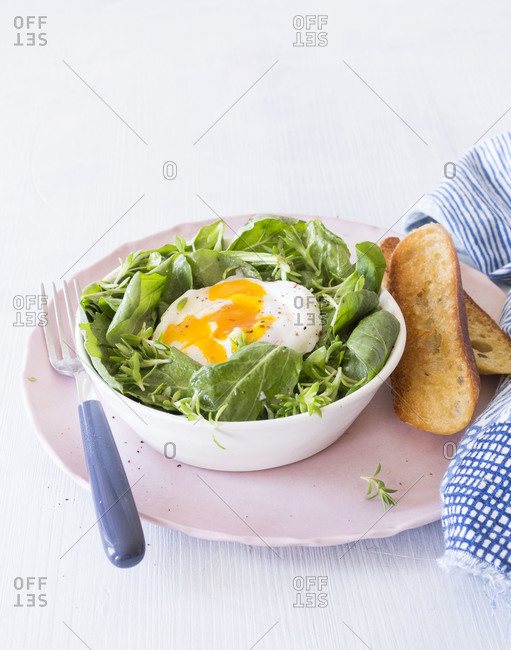 Spring salad and poached egg served on a table