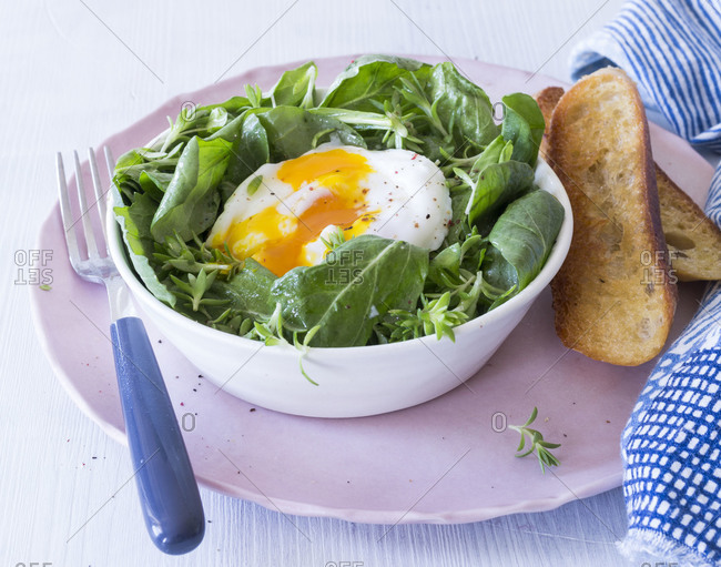 Spring salad with poached egg served in a bowl