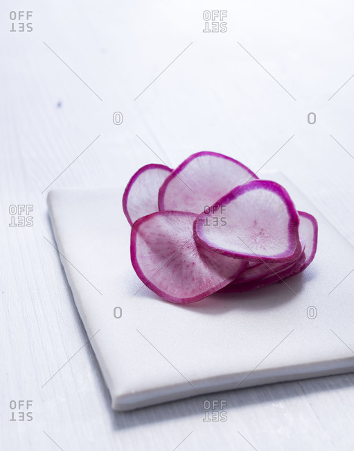 Studio shot of radish slices