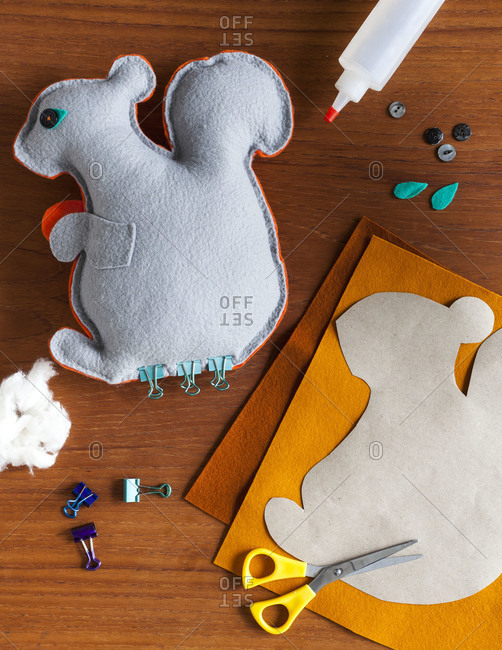 Studio shot of squirrel made out of felt