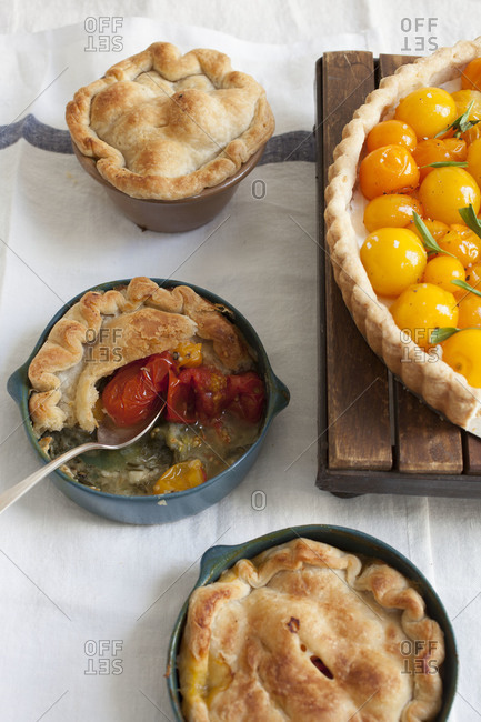 Tomato tart served with tarts on a tabletop