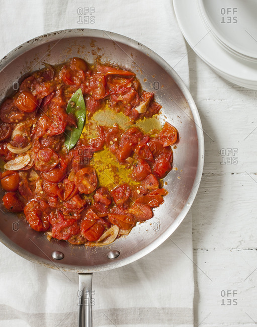 Tasty tomato sauce with garlic in a dish
