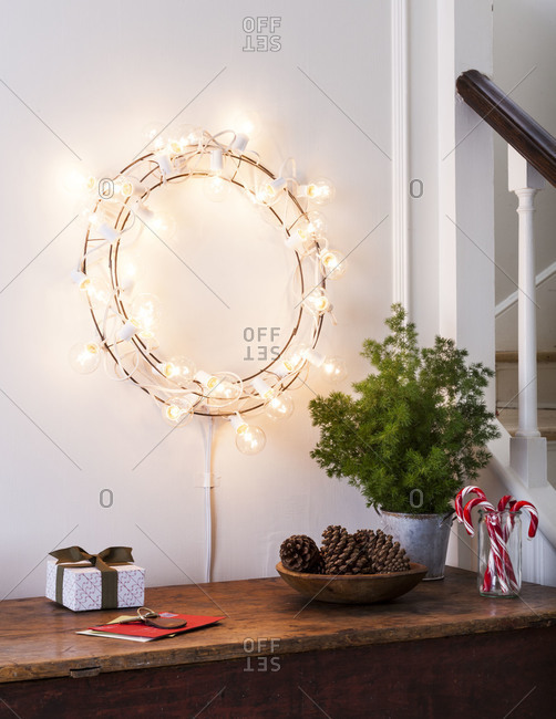 String Lights Interior Design : Interior design with string lights stock photo - OFFSET