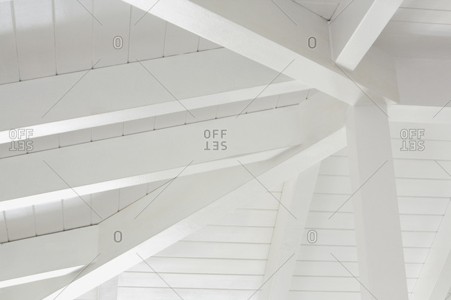 Detail of white ceiling beams