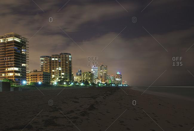Beachfront buildings at night, Miami Beach