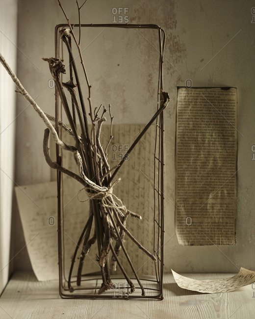 Twigs arranged into d_cor with newspaper clippings