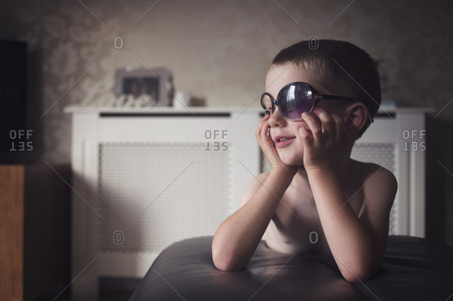 Portrait of a young boy with sunglasses