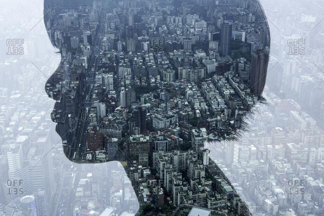 Areial view of city through a profile