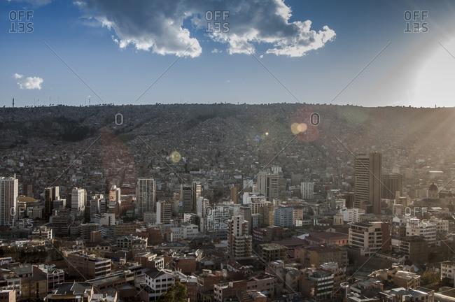 A city on a hillside