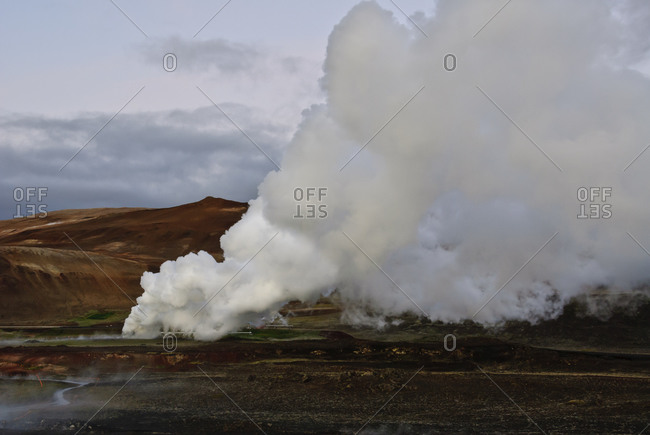 Steam from fumarole in Iceland
