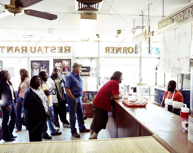 Memphis, Tennessee - June 12, 2008: Waiting line at lunchtime at the Kozy Corner