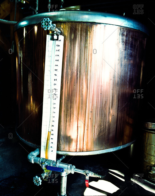 Copper holding tank in a distillery