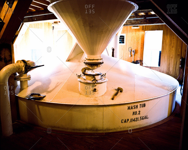 Giant mash tub in bourbon distillery