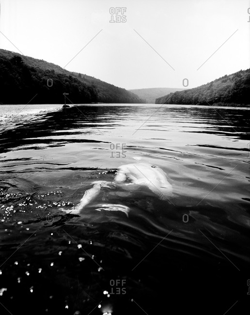 Man submerged in a river in Pond Eddy, New York