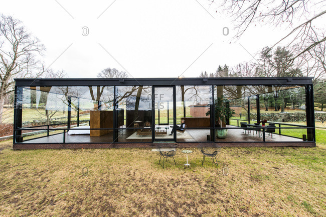 New Canaan, Connecticut - May 10, 2000: Exterior of the Glass House in New Canaan, Connecticut
