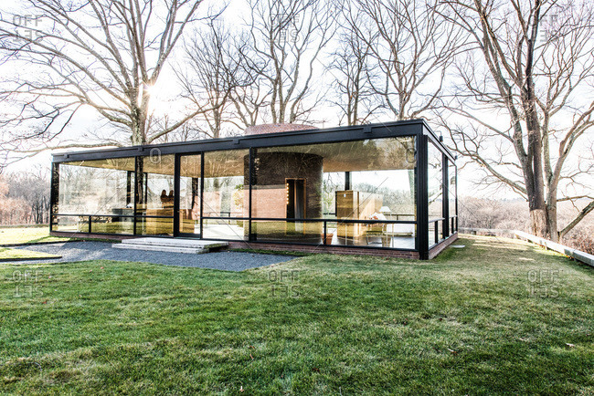 New Canaan, Connecticut - May 11, 2000: Exterior of the Glass House in New Canaan, Connecticut