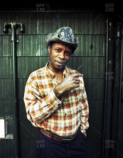 Memphis, Tennessee - June 6, 2008: Man smoking a cigarette
