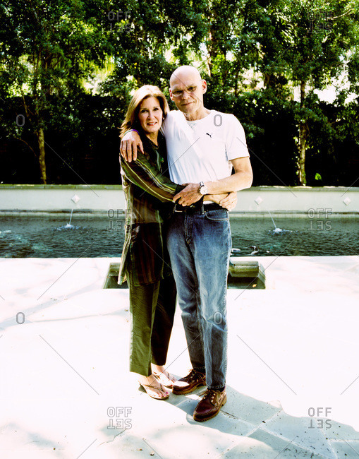 New Orleans, Louisiana - February 26, 2012: Mary Matalin and James Carville together near back yard swimming pool