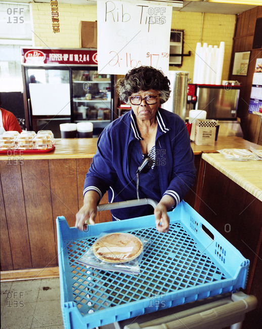 Memphis, Tennessee - February 1, 2012: Woman who bakes pies for Kozy Corner