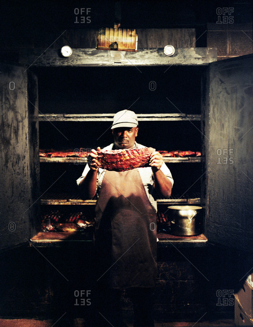 Memphis, Tennessee - February 1, 2012: Pit master at Nelly's