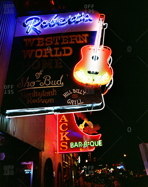 Nashville, Tennessee - February 1, 2012: Honky tonks with neon signs in Nashville