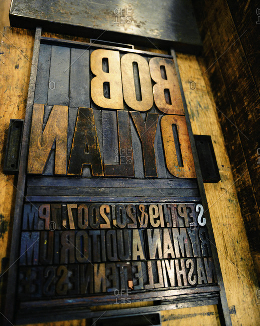 Nashville, Tennessee - March 12, 2008: Old wood block lettering for a Bob Dylan show