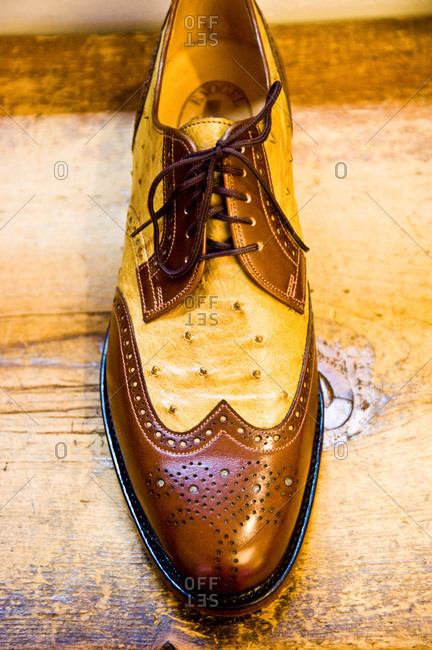 View of a wingtip shoe