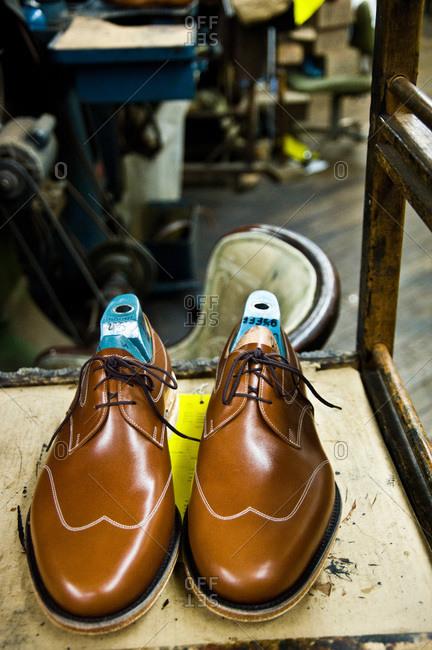 Elegant shoes in a shoemaker's workshop