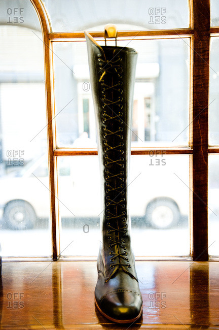 View of a boot at the window