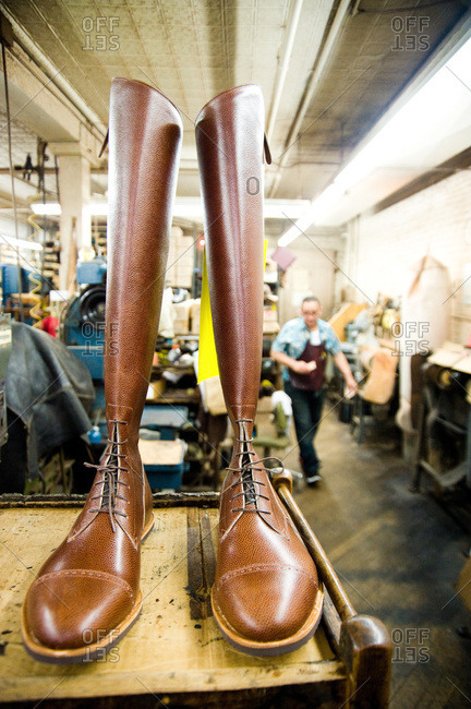 Brown boots at in a shoemaker's workshop