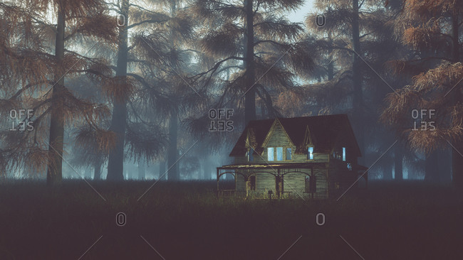 Abandoned house with lights on field in misty autumn forest at night