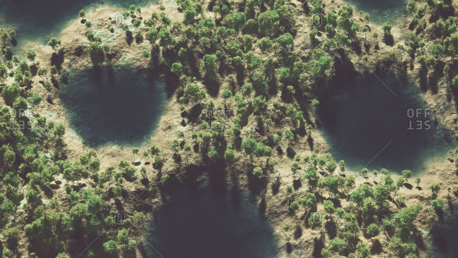 Aerial of mountain landscape with trees and lakes