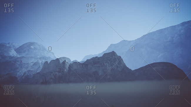 Mountain landscape at night in the mist