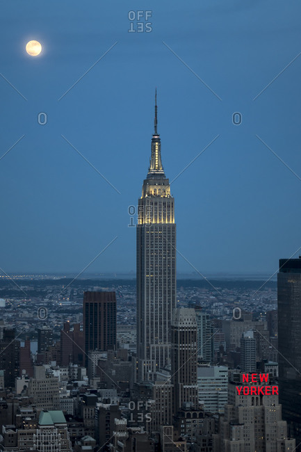 New York City, NY, USA - July 23, 2013: View of the Empire State Building at moonrise