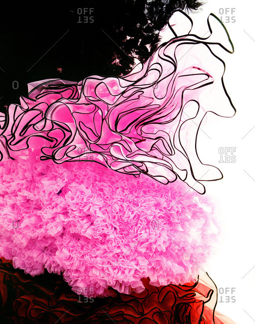 Close up of ruffled tulle fabrics