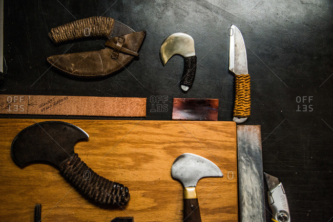 Leathercraft knives on a tabletop