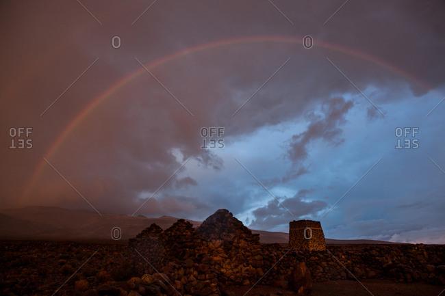 Double rainbow at sunset at Salar de Uyuni, Bolivia