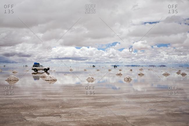 Cars at Salar de Uyuni, a salt flat in Bolivia