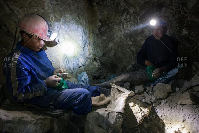 Potsi, Bolivia - February 8, 2010: Two child miners take a break