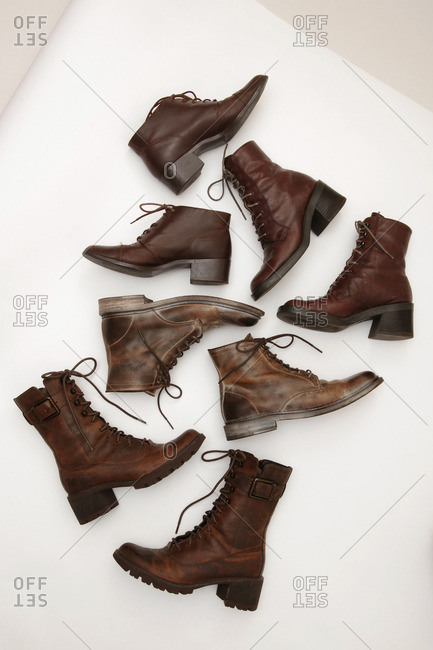 Variety of brown leather boots
